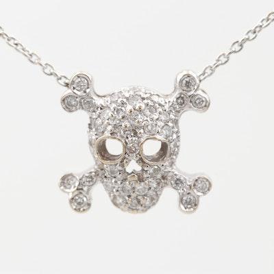 18K White Gold Diamond Skull and Crossbones Pendant Necklace