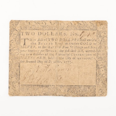 1775 Annapolis $2 Colonial Currency Note