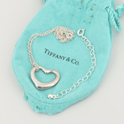 "Elsa Peretti for Tiffany & Co. ""Open Heart"" Sterling Silver Pendant Necklace"