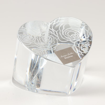"Monique Lhuillier for Waterford ""Sunday Rose"" Heart Paperweight"