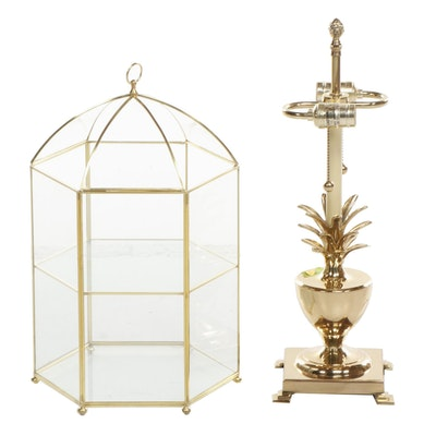 Gold Tone Pineapple Table Lamp and Glass Vitrine, Late 20th Century