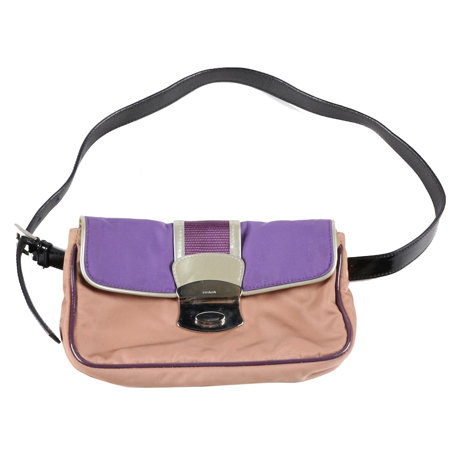 Prada Belt Bag in Nylon, Patent Leather, and Leather