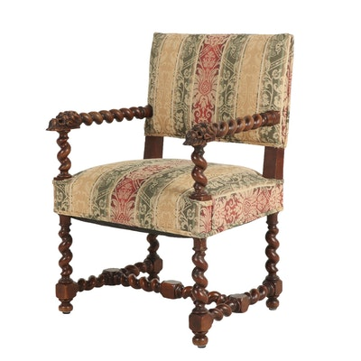 Baroque Style Carved Wood and Barley Twist Framed Upholstered Armchair