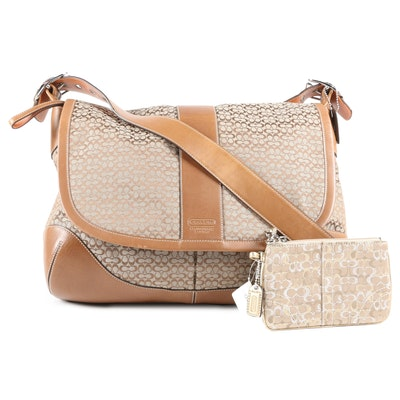 Coach Mini Signature Messenger Bag and Coach Madison Lurex Wristlet