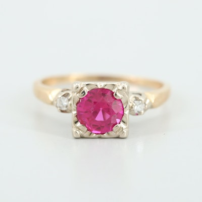 14K Yellow Gold Synthetic Ruby and Diamond Ring with White Gold Accent
