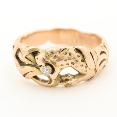 14K Yellow Gold Diamond Feline Motif Ring