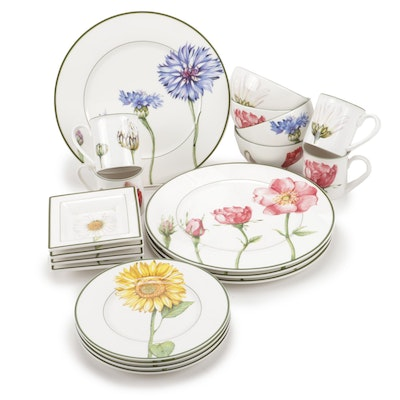 "Villeroy & Boch ""Flora"" Mix and Match Pattern Dinnerware, Setting for Four"