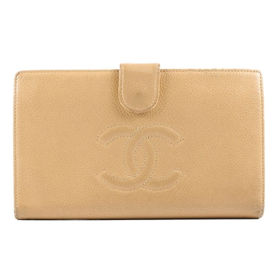 Chanel Tan Caviar Leather CC Wallet