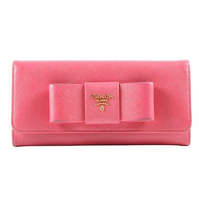 Prada Pink Saffiano Leather Fiocco Clutch Wallet