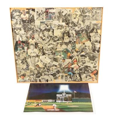 Baseball Collage with Bill Purdom Signed Crosley Field Lithograph, COA