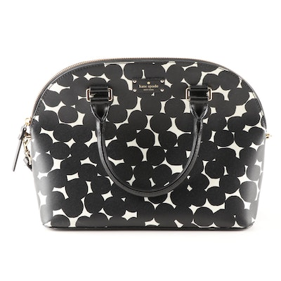 Kate Spade New York Carli Grove Street Splodge Dot Black and White Satchel