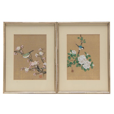 Japanese Flower and Bird Gouache Paintings