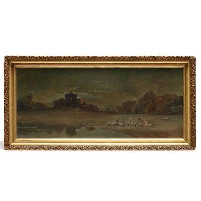 20th Century Pastoral Landscape Oil Painting