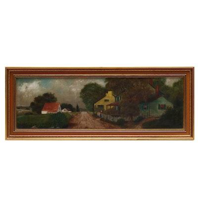 20th Century Rural Street Scene Oil Painting