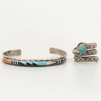 Southwestern Style Sterling Ring and L. Bowannie Zuni Cuff with Turquoise