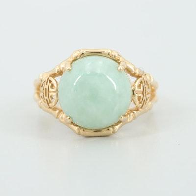 14K Yellow Gold Jadeite Asian Motif Ring