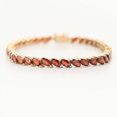 14K Yellow Gold Garnet Line Bracelet