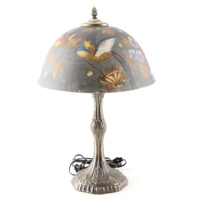 Cast Metal Table Lamp with Painted Glass Shade, Contemporary