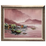 Robert Lo Oil Painting of Chinese Junk Boats in Harbor
