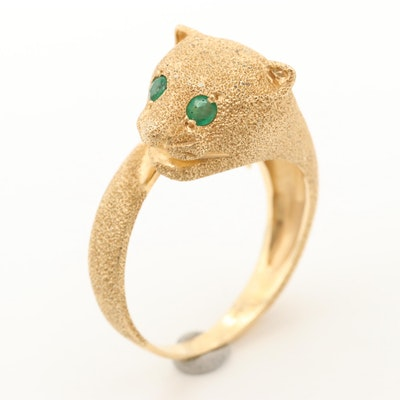 14K Yellow Gold Emerald Feline Motif Ring