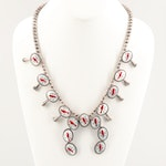 Southwestern Style Sterling Mother of Pearl and Resin Squash Blossom Necklace