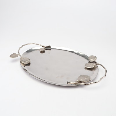 "Michael Aram ""Botanical Leaf"" Nickel Plated Stainless Steel Serving Tray, 2011"