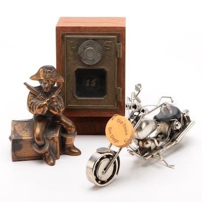 Cast Metal Pirate Coin Bank, Miniature Safe, and More