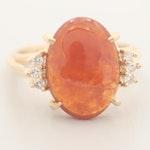 14K Yellow Gold Jadeite and Diamond Ring