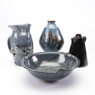 "Thrown Stoneware Tableware Including ""Blue"" Pitcher and Basin"