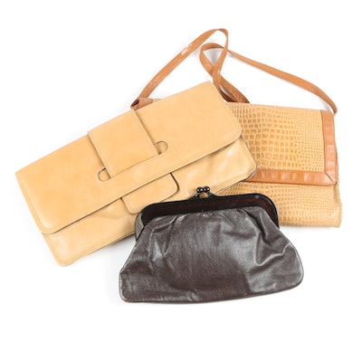 Leather Shoulder Bag and Clutches Including Italian Made and Pioneer