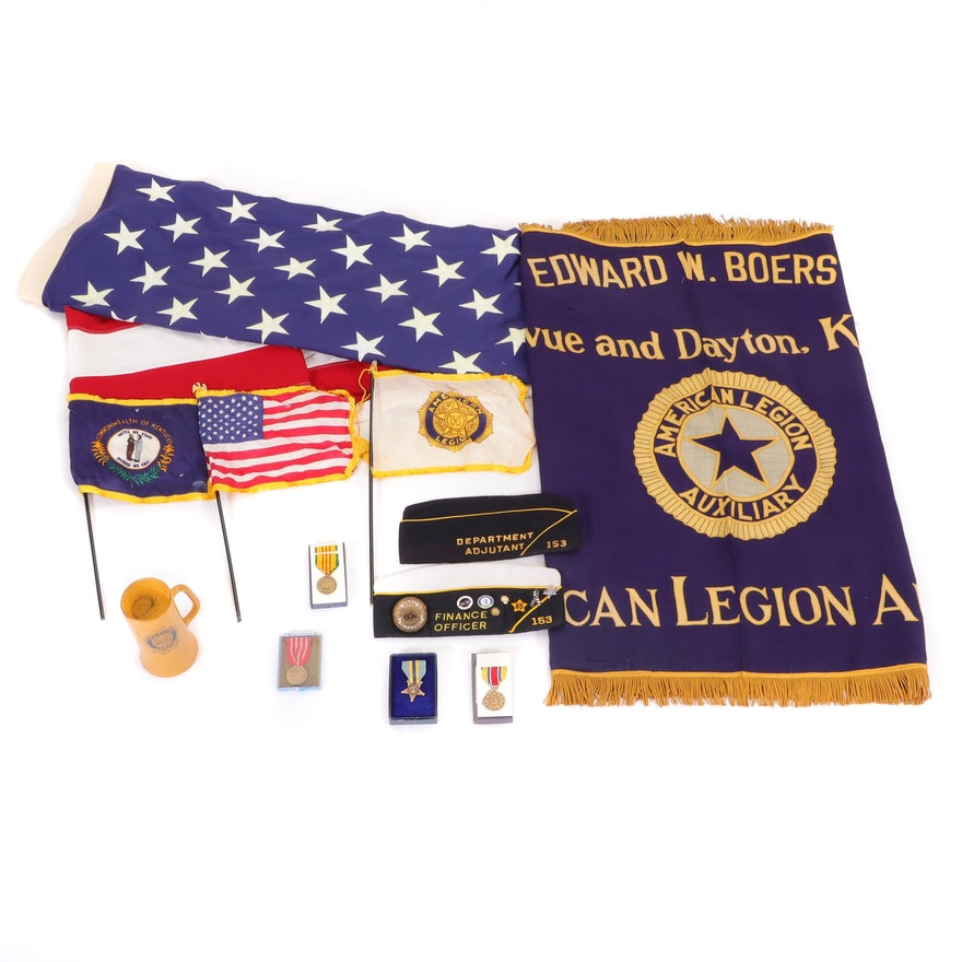 American Legion Vietnam Era Banner, Caps, Flags, Medals, and Drinking Mug