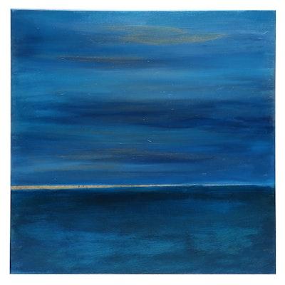 """Neville Shenton Abstract Acrylic Painting """"Golden Horizon"""""""