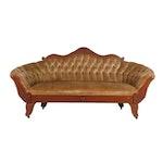 Renaissance Revival Period Tufted Back Velvet Cherry Frame Settee, Antique