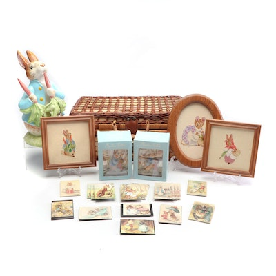 Beatrix Potter Peter Rabbit Themed Decor Including Schmid Music Box