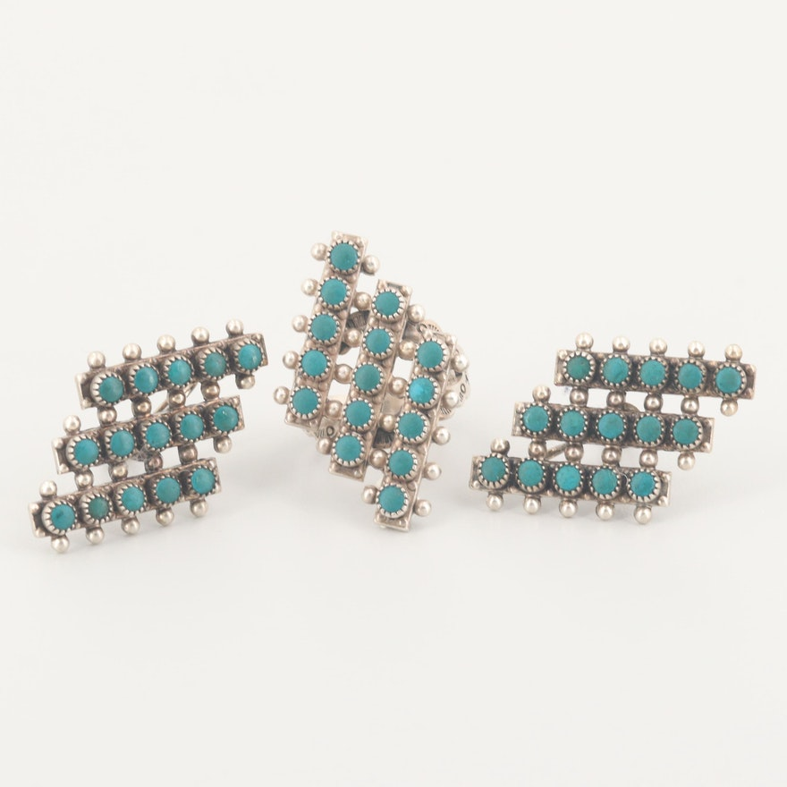 Southwestern Style Sterling Imitation Turquoise Trapezoid  Ring and Earring Set