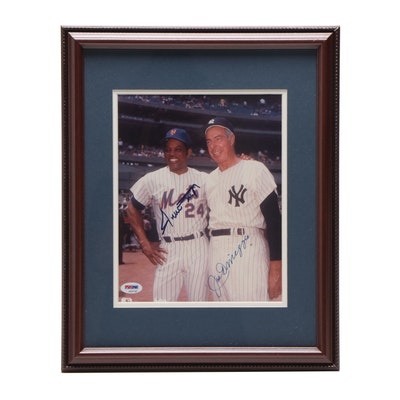 Willie Mays and Joe DiMaggio Signed Framed Photo, COA