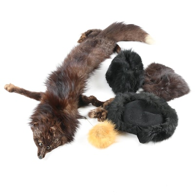 Merrimac Hat with Fox Fur Trim, Fox Fur Stole and Accessories, Mid-20th Century