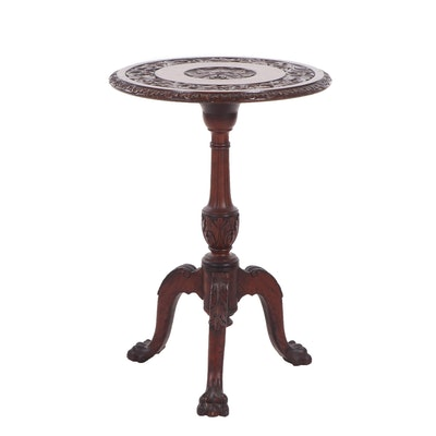Victorian Period Renaissance Revival Style Carved Walnut Tilt Top Table