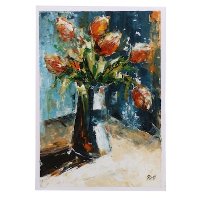 Abstracted Floral Still Life Mixed Media Painting