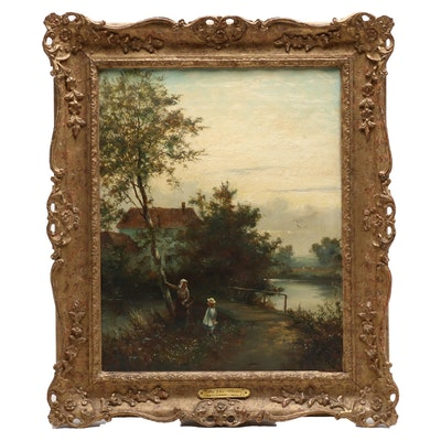 """William Langley Oil Painting """"By the River"""""""