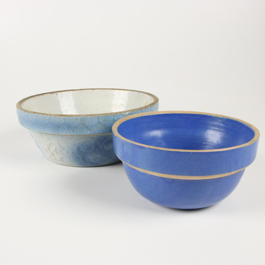 Salt Glazed Stoneware Mixing Bowls, Early 20th Century