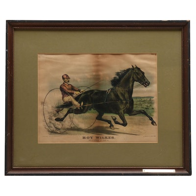 """Currier & Ives Color Lithograph """"Roy Wilkes"""""""