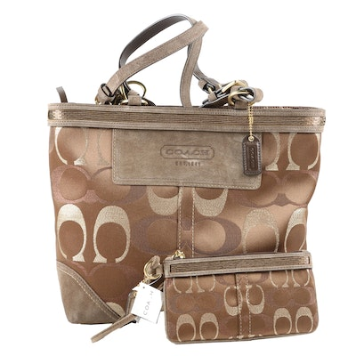 Coach Tote and Wristlet in Optic Signature Lurex with Bead Trim