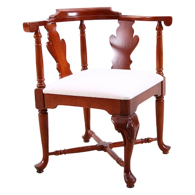 Queen Anne Style Mahogany Corner Chair, Mid to Late 20th Century