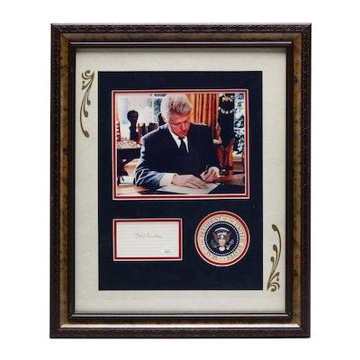 Former President Bill Clinton Framed Signed Display, COA