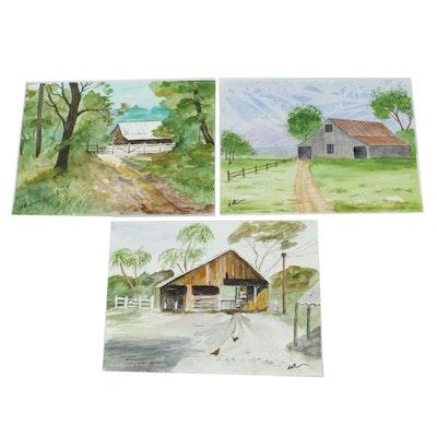 21st Century Pastoral Scene Watercolor Paintings