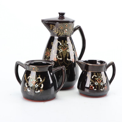 Japanese Moriage Redware Pitcher with Creamer and Sugar Holder, Mid-Century