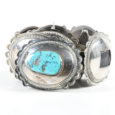Sterling Silver and Turquoise Southwestern Style Concho and Leather Belt