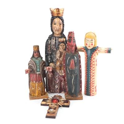 Folk Art Style Hand Carved Figurative Religious Santos