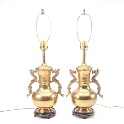 Chinese Dragon Motif Brass Tone Table Lamps